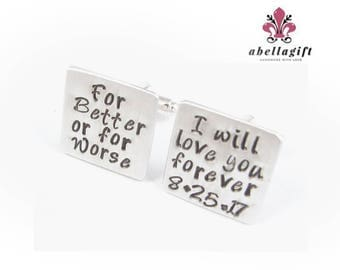 Marriage Vows Cufflinks, For Better For Worse Cufflinks, Square Cufflinks, Groom Cufflinks, Hand Stamped Personalized Engraved Cufflinks