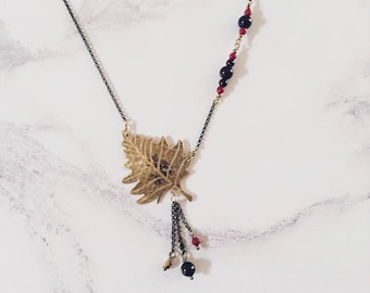 Silver birch leaf necklace, red gemstones, gold brass, Leaf-Life collection, nature leaves jewelry
