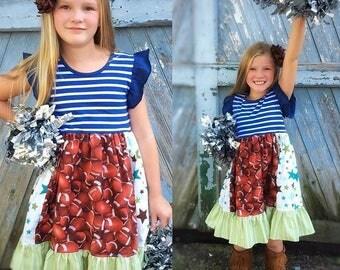Football dress game day dress girls toddler Cowboys patriots Broncos Chargers Titans football NFL superbowl dress Momi boutique custom dress