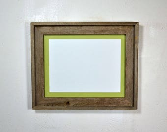"Rustic style picture frame with 9"" x 12"" light green mat complete ready to ship 20 mat colors available"