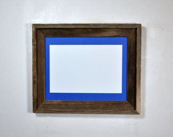 "Rustic style picture frame with 8"" x 12"" blue mat complete ready to ship 20 mat colors available"
