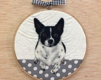 Taking Custom Pet Hoop Art Orders -Personalized Needle Felted Pet Hoop made from Repurposed Fabrics - Custom Dog or Cat Wool Portrait