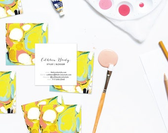 PSYCHEDELIC Aqua + Chartreuse Marble Calling Cards   Business Cards   Blogger Cards   Set (50)