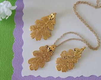 Gold Oak Leaf Necklace, Real Leaf Necklace, Lacey Oak Leaf, Gold Leaf Necklace, Long Leaf, Leaf Pendant LC219