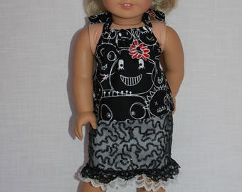 18 inch doll clothes, funky faces halter top, sequin covered denim skirt with lace trim,  Upbeat petites