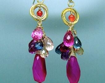 Hot Pink Chalcedony Blue Pink Topaz Briolette Chandelier Earrings in Vermeil Sterling Silver