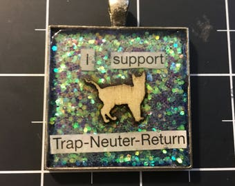 I Support Trap-Neuter-Return Veneer Cat Pendant, 50% of the proceeds goes to the current focus charity
