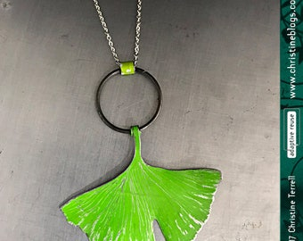 Green Ginkgo Leaf Upcycled Wabi Sabi Tin Necklace Recycled Tin Anniversary Spouse Gift for Nature Lover Ethical Sustainable Boho Jewelry