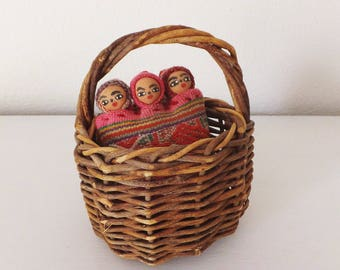 Little Basket for Child's Play Waldorf Toy Sweet Simple Childhood Doll Basket Toy Basket Mini Basket with Handle Made of Willow