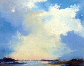 OH, BEAUTY, oil landscape painting original 100% charity donation, 8X10 canvas  panel, clouds, field