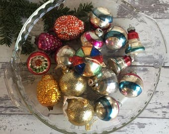Assorted Vintage Shiny Brite Christmas Ornaments - Odd Lot for Wreaths Crafting