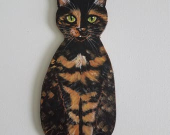 Tortoiseshell Cat ~ Cat Wall Art ~ Cat Painting ~ Cat Plaque ~ Cat Decor ~ Cat Themed Gift ~ Tortie Cat Art ~ Cat Sign ~ Cat Lover Gift