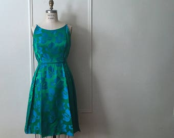 vintage 1950s blue + green  party dress with matching cocktail jacket - size large to extra large, l/xl