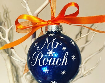 Teachers Name Personalised Christmas Bauble