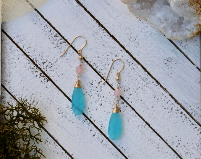 Blue Chalcedony and Rose Quartz Earrings