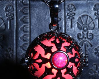 Glowing necklace pendant, locket with red glowing LED orb and red opal stone