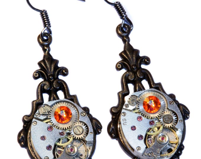 Steampunk Earrings - Fire Opal Crystal