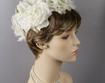 1960s Vintage Hat Open Crown Wired Wreath of White Silk Roses by Loni