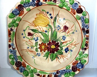 Gorgeous 1930s Floral Serving Plate - Nove Rose Pattern - Handpainted Flowers - Yellow Red Green Blue - Embossed Fruit - Hand Painted Design