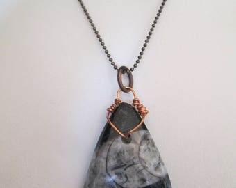 Stunning black polished Orthocerous fossil pendant necklace on chain New