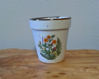 vintage ceramic speckled planter flower pot with wildflowers Japan pottery