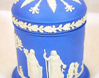 Vintage Blue Wedgwood Jasperware Collection - Tobacco Jar with Lid