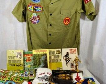 Huge Lot of Vintage Boy Scout Items - Clothing, Patches, Badges, Books, Pins, Arrow Pocket Dangle, Neckerchiefs, Merit Badge Sash, Belt, Etc