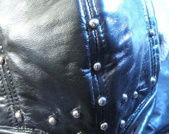Black Leather Executioner Half Mask with Oval Eyes/ Nickel Studs