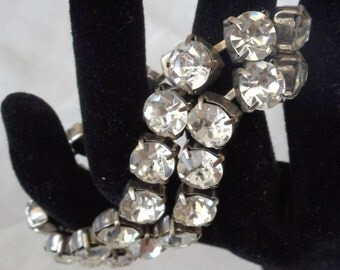 VINTAGE Clear Large Rhinestones Double Strand Costume Jewelry Bracelet