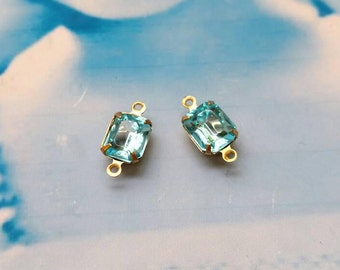 Vintage Aquamarine  10x8mm CZECH Crystal Stones in a Raw Brass Connector Prong Setting  475RAWCON x2