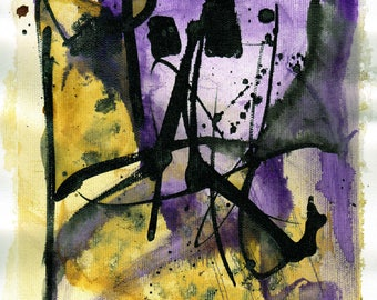 Modern abstract painting A4, 12x8in -  black, purple and yellow paint 3