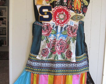 My Bonny - sow and reap MAXI DRESS  - Wearable Fabric Collage Art Patchwork Couture - Ethnic Tribal Native  Random Scraps Vintage Linens