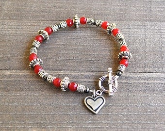 Ruby Bracelet, July Birthstone, Microfaceted Ruby Birthstone Bracelet, Stacking Bracelet, Silver Heart Charm Red Gemstone Gift for Her