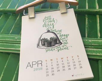Printable Calendar 2018, Hand Lettered Scripture Art, Instant Digital Download, 5x7