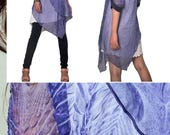 Hpnosis peacock feather version - idea2lifestyle zen layered tunic dress / boho yoga top chiffon dress / hippie blue denim tunic (Q1710Y)