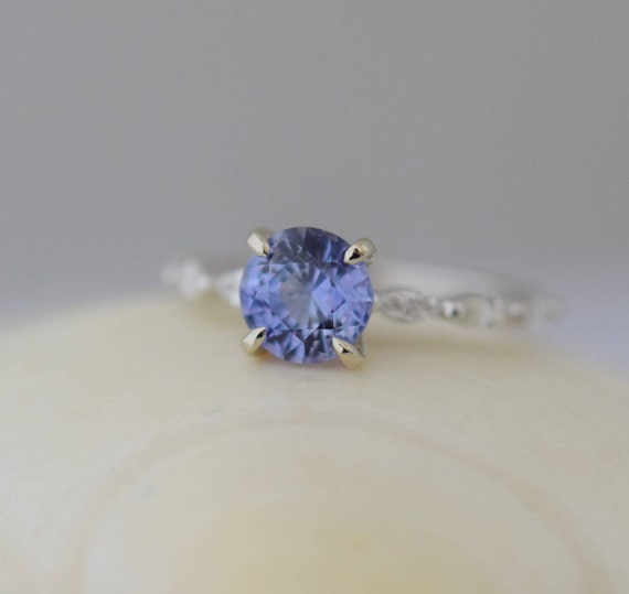 Engagement ring. White Gold Engagement Ring. Sapphire engagement ring. One of a kind ring Blue Sapphire round Engagement ring Eidelprecious