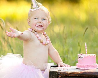 First Birthday Outfit Girl Hat, Baby Hat Headband, Baby Headband Hat, Pink and Gold Party Hat, 1st Birthday Outfit Girl Hat, Baby Girl