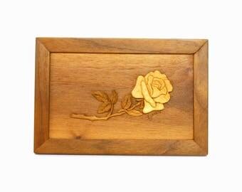 Dimensional Carved Wooden Rose Framed Artwork Signed E. Janen