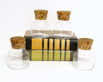 Set of Four Clear Glass Apothecary Style Jars with Cork Stoppers