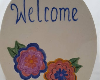 Handpainted Ceramic Welcom Sign/Floral Welcome Sign/Small Ceramic Welcome Sign/Welcome Plaque
