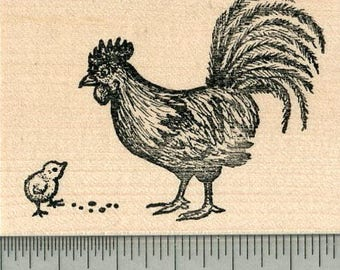 Rooster and Chick Rubber Stamp, Father's Day Series K32609 Wood Mounted