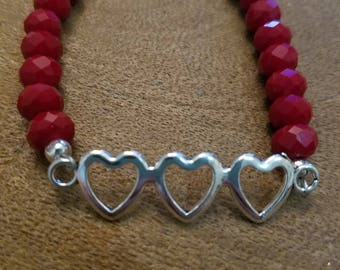 Triple Heart Bracelet Ruby Quartz Red Glass Beads with Adjustable Chain