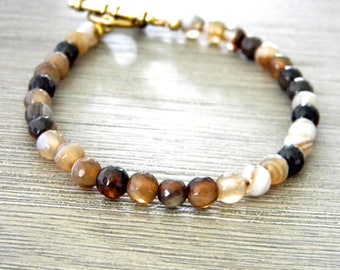 Earthy Brown Agate Stone Beaded Bracelet Toggle Clasp Gold Colored Clasp