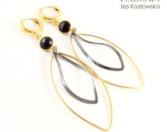 Waves - gold-plated - silver earrings with onyx