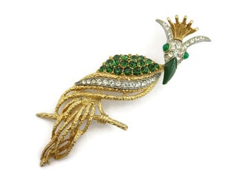 Florenza Jewelry Brooch - Bird of Paradise Green Gold Clear Figural Animal Costume Jewelry