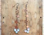 Celestial Earrings- Copper Star Earrings- Festival Jewelry- Dangle Earrings- Celestial Jewelry- Moon Goddess- Boho Chic Gift for Her