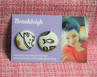 Rockabilly Retro 50s Style Earrings, 23mm Hypoallergenic, Cat Kitten with Fish design