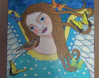 "Angel Painting Mixed Media Original, encaustic by The Artist 16"" x 16"" FREE SHIPPING"