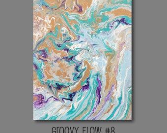 Groovy Abstract Acrylic Flow Painting #8 Ready to Hang 11x14