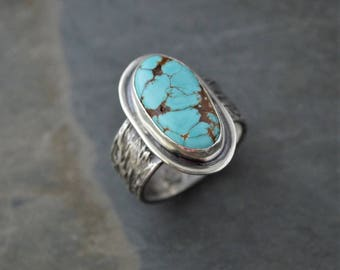 Royston Turquoise Ring, Tribal Ring, Sterling Silver Statement Ring, Size 8, Prairie Botanical Band, Native American, Southwest Ring